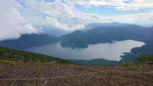 男体山から見た中禅寺湖