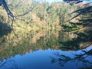 日光白根山弥陀ヶ池に映る紅葉
